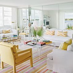 Citrus Splash, love the rug and mirrors  on back wall for panoramic view.  Coastal Living