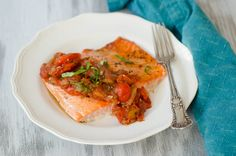 Salmon with Melted Cherry Tomato Sauce by Pink Parsley Blog
