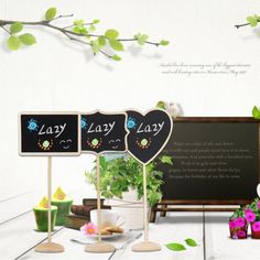 Wedding Table Decoration Mini Blackboard Chalkboard Message Board On Stick Stand #Unbranded