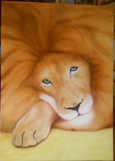 Old tired lion painted on canvas