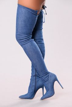 Vicky Over The Knee Boot - Denim