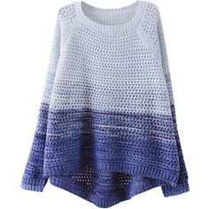 Retail Woman color block sweater Gradient retro fashion casual short  long hollow knit sweater hot sale new 2014 spring