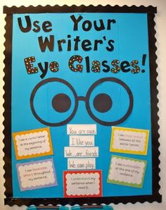 """writers workshop  board...I might change it to """"spy glasses"""" for Kdg and have some dollar store glasses with the lenses popped out for them"""