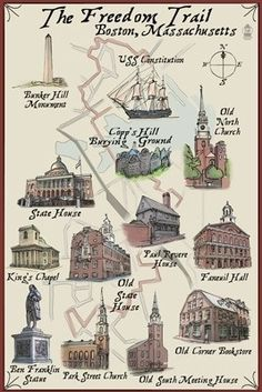 The Freedom Trail - Boston, MA - Lantern Press Poster