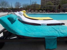 Turquoise Sun Towel/Beach/Pool Lounge Chair Cover Towel,Head Pillow,Two
