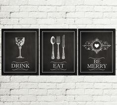 Set of 3 PRINTS Kitchen vintage Printable Poster, chalkboard Graphic Design, Eat Drink be Merry Home Decor wall art Gift,spoon fork Download