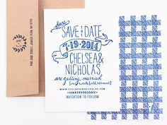 Oh So Beautiful Paper: Chelsea + Nick's Hand Drawn Gingham Save the Dates
