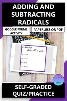 DIGITAL, NO PREP, SELF-GRADING practice, adding and subtracting radicals. Engage your high school Algebra students with 10 problems using google forms. This resource can be used as a Google Form OR a worksheet activity. Detailed instructions and answer key included. Perfect for distance and online learning. #distance learning #digital #self-graded #radicals #adding radicals #subtracting radicals #google forms High School Algebra, Algebra 1, Math Resources, Math Activities, Secondary Math, Adding And Subtracting, Math Stations, Word Problems, Fun Math