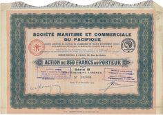 Soc. Maritime et Commerciale du Pacifique - #scripomarket #scriposigns #scripofilia #scripophily #finanza #finance #collezionismo #collectibles #arte #art #scripoart #scripoarte #borsa #stock #azioni #bonds #obbligazioni