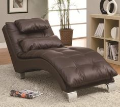 Dark brown leather like vinyl upholstered tufted design chaise lounger with chrome legs