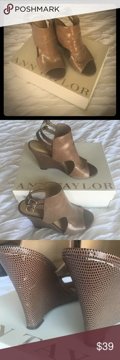 Maura Peep Toe Wedge Great condition. Modern cutout detail, rich leather 4 inch wedge. Peeptoe. Adjustable double buckle ankle strap for secure fit. Padded footbed. 5 small scuffs on left shoe. Tan/taupe color.smooth leather top and textured back. Timeless design. Will ship with box. Worn three times. Ann Taylor Shoes Wedges