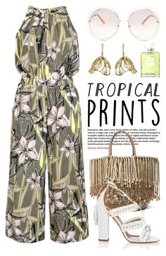 """""""Hot Tropics 1706"""" by boxthoughts ❤ liked on Polyvore featuring Quiz, Sensi Studio, Aquazzura, Chloé, Oscar de la Renta, Chanel, tropicalprints and hottropics"""