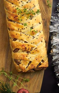 25 Vegan Christmas Recipes! - Pictured: #Vegan Pecan and Mushroom Wellington Recipe
