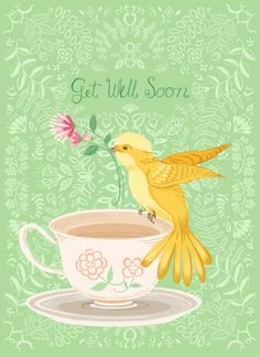 Pimlada Phuapradit - Floral And Bird Card_Get Well Soon - mi sitio Get Well Soon Images, Get Well Soon Quotes, Well Images, Get Well Messages, Get Well Wishes, Get Well Cards, Sympathy Cards, Greeting Cards, Chillout Zone