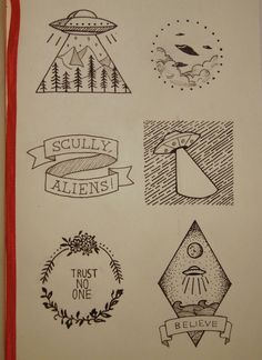x-files inspired flash tattoo designs Kunst Tattoos, Tattoo Drawings, Art Drawings, Tattoo Sketches, Drawing Art, Alien Tattoo, Tattoo Buch, Book Tattoo, Tattoo Quotes