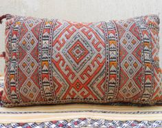 """24"""" x 14"""" - Vintage Moroccan Berber Pillow Cover- Decorative Throw Pillow- Woven Wool Cushion-Moroccan Decorative Throw- Hand Loomed Wool"""