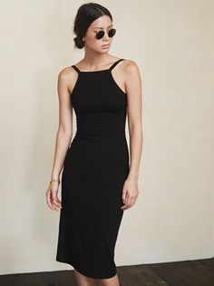 Put your back into it. The Carson Dress is the dress version of our Jessa Bodysuit - cut high in the neckline then real low in the back. https://www.thereformation.com/products/carson-dress-black?utm_source=pinterest&utm_medium=organic&utm_campaign=PinterestOwnedPins