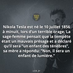 Il a deja eut un coup de foudre ? Nikola Tesla, French Quotes, Did You Know, Physics, Science, Sign, Words, Awesome, Pictures