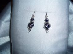 Navy Blue Glass Beads Chaos Wire Wrapped in Silver Permanently Colored Wire