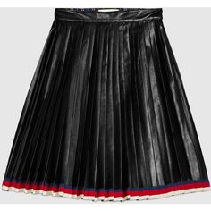 Gucci Pleated Leather Skirt ($2,610) ❤ liked on Polyvore featuring skirts, bottoms and black