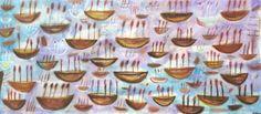 """""""Atardecer en la Bahía"""" / """"Dusk at the Bay"""" Artist: Didier Mayes Year: 2015, Oil on Canvas 31 x 70 in. - 80 x 180 cms #didier #didiermayes #oaxaca #oaxacaart #mexicanart #artemexicano #latinamericanart #latinamerica #auragalerias #artecontemporaneo #arte #art #contemporaryart #artgallery #mexico #mexicodf #df #cdmx @mexicocity #galeriadearte #artnet #artworld #artlover #artcollector #coleccion #collection #investment #coleccion #painting #pintura"""