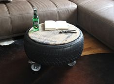 Heißer Reifen Jute Couchtisch Beistelltisch Loft Style Jute, Old Tires, Industrial, Garden Table, Loft Style, Natural Cleaning Products, Hot Wheels, Suitcase, Home Appliances