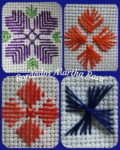 Hand Embroidery Design Patterns, Learn Embroidery, Hand Embroidery Stitches, Crochet Stitches Patterns, Crewel Embroidery, Cross Stitch Embroidery, Cross Stitch Patterns, Plastic Canvas Stitches, Plastic Canvas Crafts