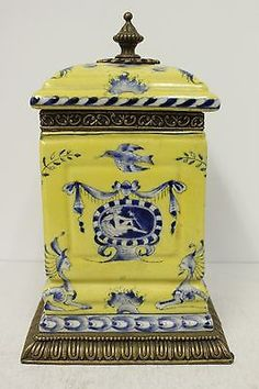 Beautiful Yellow and Blue Porcelain Square Pot Box Ormolu Brass Accent