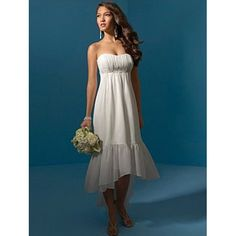 Simple Chiffon Hight Low Tea Length Wedding Dresses