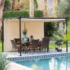 Belham Living Steel Outdoor Pergola Gazebo with Retractable Canopy Shades - Hayneedle exclusive