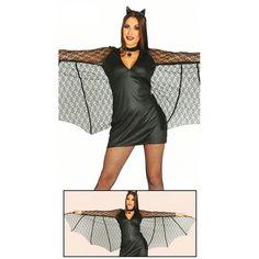 Disfraz de murciélago para mujer. Incluye vestido con alas