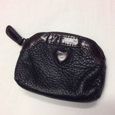 "Brighton coinpurse This is a cute Brighton coinpurse in excellent condition. The main color is black with brown trim. It is 4.5"" wide and 3.5"" tall. Brighton Bags Mini Bags"