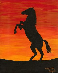 Horse at Sunset 8x10 Acrylic Painting on by AcrylicsAndBeyond, $25.00