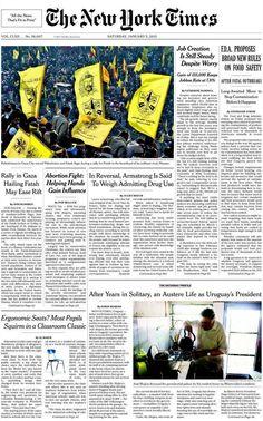 The New York Times (EE.UU) - 04 de enero de 2013. El medio americano dedica un espacio de su portada al Presidente de Uruguay, José Mujica, destacando la austera vida del mandatario. http://www.nytimes.com/2013/01/05/world/americas/after-years-in-solitary-an-austere-life-as-uruguays-president.html?pagewanted=all&_r=4