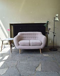 Retro Sofa Indigo 2-Sitzer Stoff Hellgrau: Amazon.de: Küche & Haushalt