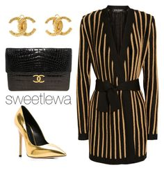 """#159"" by sweetlewa on Polyvore featuring Balmain, Giuseppe Zanotti and Chanel"