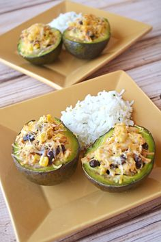 Chicken Stuffed Avocados with Cilantro Lime Rice