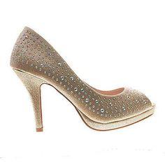 Robin58A Silver Sparkle By De Blossom, Dress Platform Peep Toe Crystal Studded Pump Up Heels