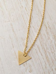 Gold triangle pendant charm necklace. Dainty by JamTartBoutique
