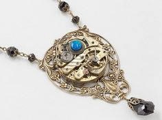 Steampunk Necklace Antique Pocket Watch Movement with Vintage Jet Crystal Beads, Black Opal, Gold Flower & Leaf Filigree Statement Necklace