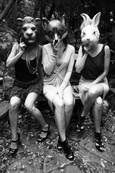 These three people are hopefully what the three characters in our video will look like. As you can see the animal masks make them look creepy and out of the ordinary but they go together well.