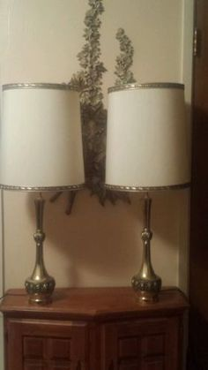 Hollywood Regency Brass Lamps with custom made by MODMAKESIT