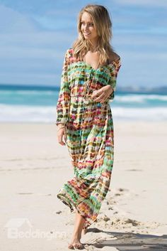 Bohemian Floral Slim Waist Chiffon Beach Maxi
