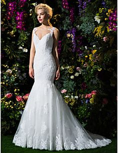 Fit & Flare Jewel Court Train Lace And Tulle Wedding Dress (... – USD $ 499.99  This would look so fierce with a cape. Every time I picture it, I get chills. No lie!