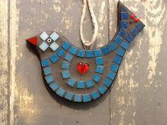 LorraineUdellMosaics Blue bird with heart