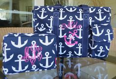Nautical, Anchor Organizer Tote, Diaper Bag, Utility Tote, Monogrammed by StitchedInStyle1 on Etsy