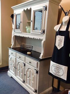 This charming hutch/buffet is revived with a combo of paint & stain.