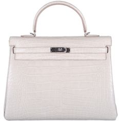 Pre-owned HERMES KELLY BAG 35cm BETON MATTE ALLIGATOR WITH PALLADIUM... ($84,400) ❤ liked on Polyvore featuring bags, handbags, handbags and purses, top handle bags, pink purse, hermès, pink bag, alligator purse and handbags & purses