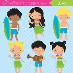 Luau clipart Hula clipart Beach clipart by snapdragonandfinn Beach Clipart, Summer Clipart, Thema Hawaii, Tiki Head, Coconut Drinks, Beach Quilt, Surfer Boys, Hawaiian Tiki, Theme Pictures