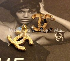 Chanel inspired stud Earrings with rhinestones by Mondaybyme, $8.50